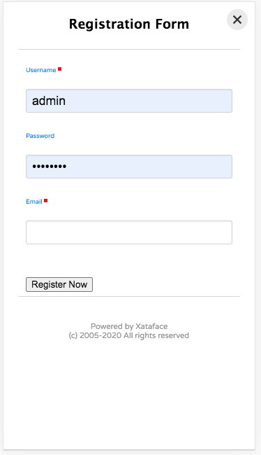 The mobile registration form - fields generated based on the fields in the users table.